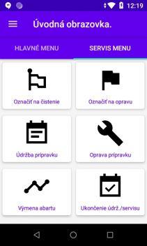 PDA obrazovka TMS